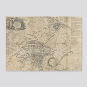 Vintage Map of Edinburgh Scotland ( 5'x7'Area Rug